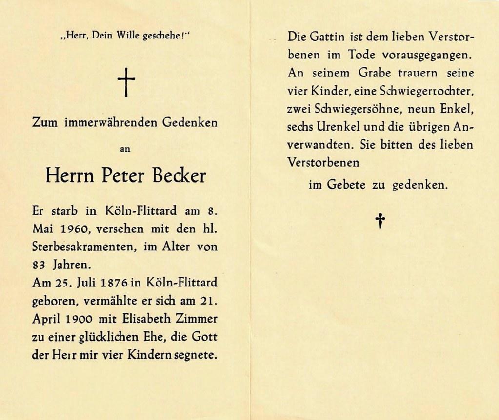 Totenzettel Becker, Peter geb. 1876 † 08.05.1960