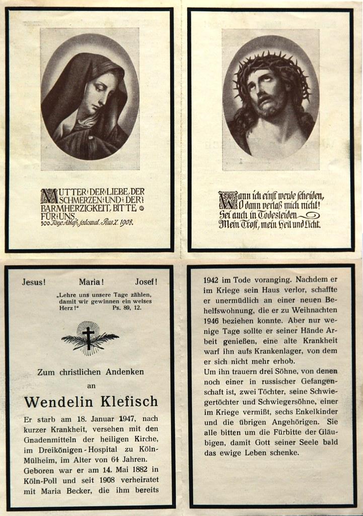 Totenzettel Klefisch, Wendelin † 18.01.1947