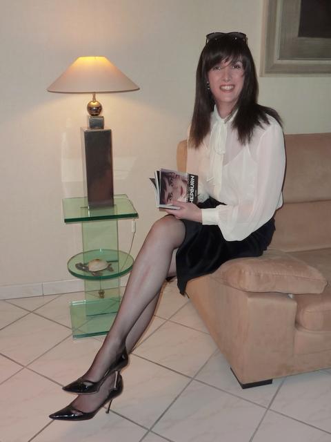 Black Velvet Skirt  White Silk Blouse 2  Jupe En Velour -3815
