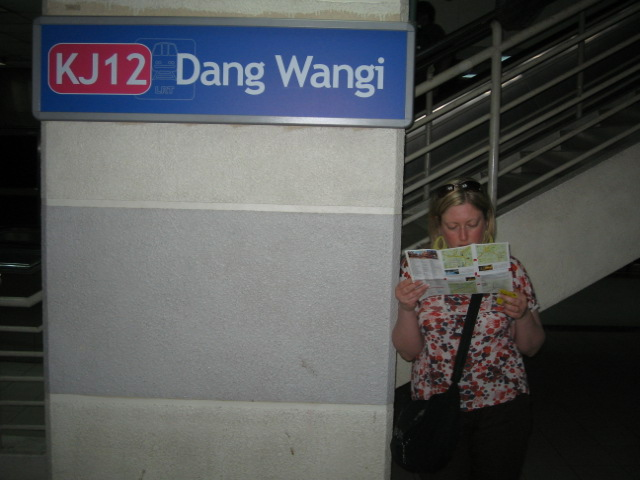 Looking at a map at the station