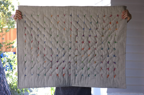 mini tied quilt | linen with cotton embroidery thread ...