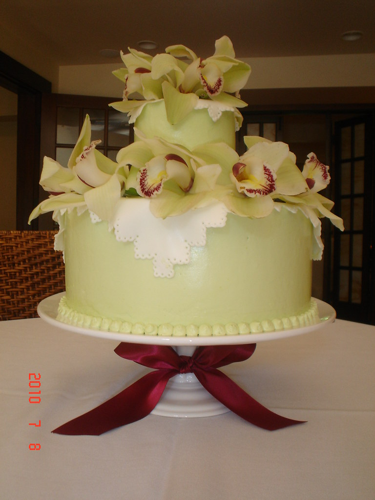 Cymbidium Orchid Birthday Cake I Colored The Buttercream