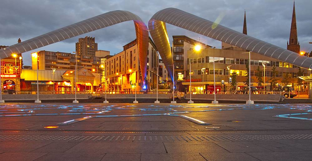 Coventry City Centre Night View Aruk5 Flickr