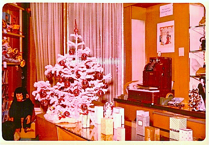 1960s Christmas Tree Counter Display In Vintage Drug Store