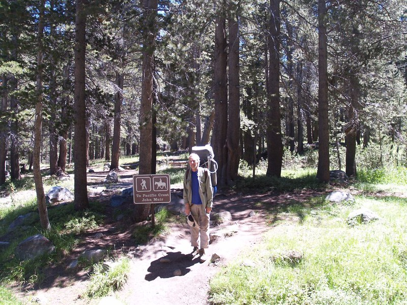 Trail sign to the PCT and JMT from the Tuolumne Meadows Campground
