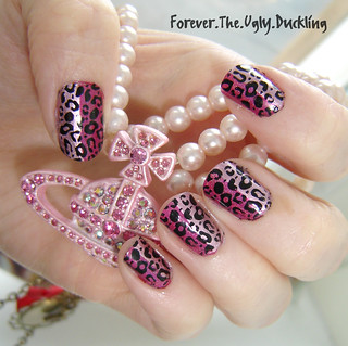 Pretty Pink Leopard nails using Konad | by marina_la_placenta