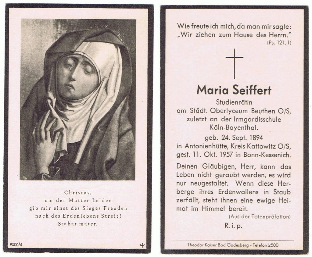 Totenzettel Seiffert, Maria † 11.10.1957