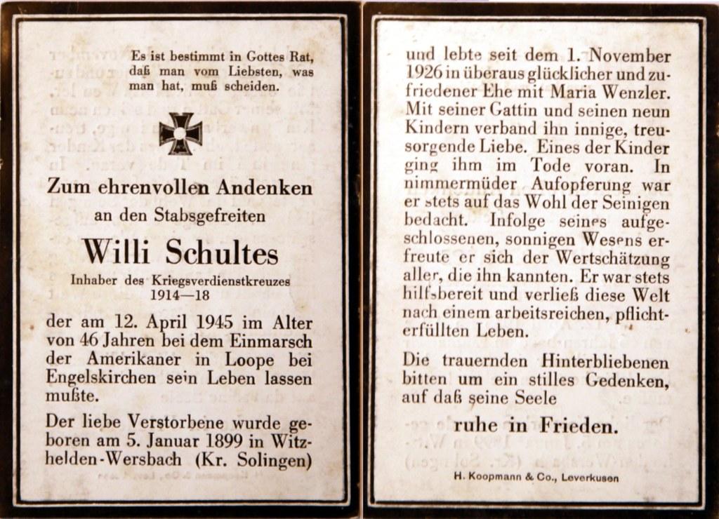 Totenzettel Schultes, Willi † 12.04.1945