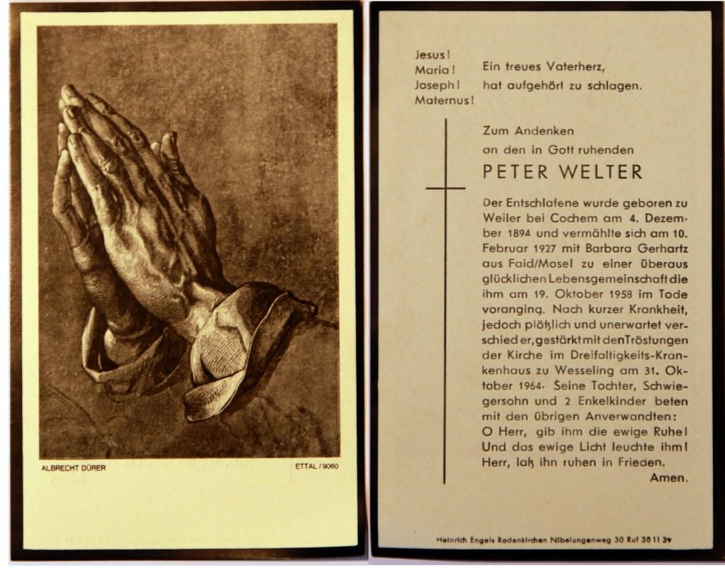 Totenzettel Welter, Peter † 31.10.1964