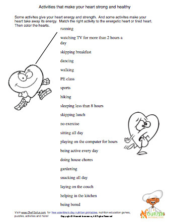Worksheet Nutrition Worksheets For Kids heart health worksheet for kids being active some flickr by nutrition education
