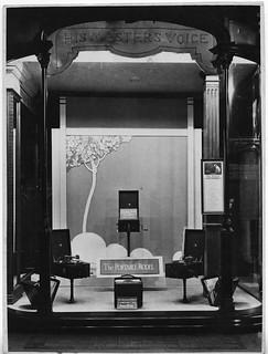 hmv 363 Oxford Street, London - The Portable Model window display 1920s
