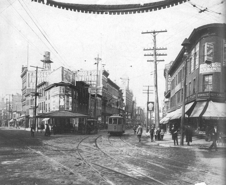Newark Avenue And Montgomery Street With Trolley And Track