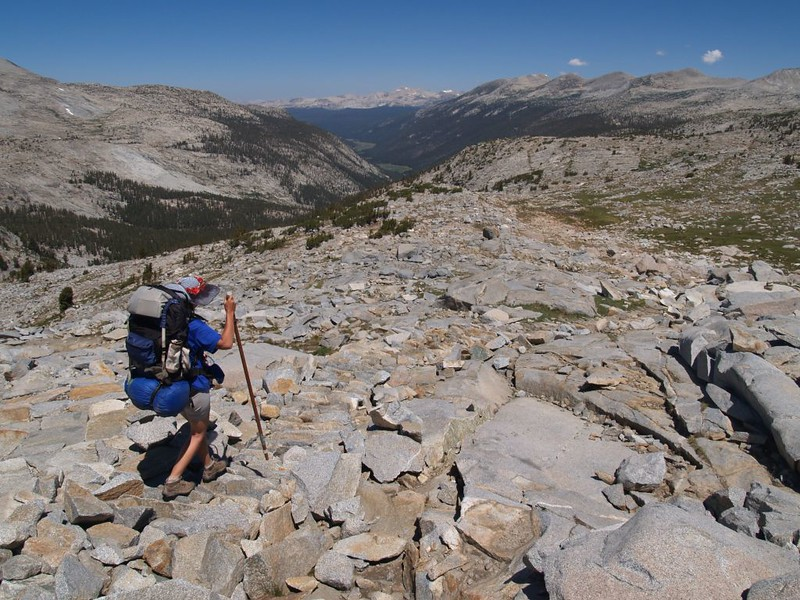 Descending into Lyell Canyon, northbound on the PCT, in Yosemite National Park