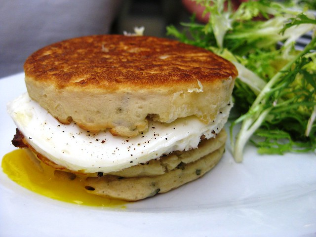 fried egg sandwich on homemade rosemary crumpet with cheddar and ...