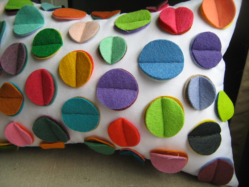 Rainbow Disc Pillow | by dedeetsyshop