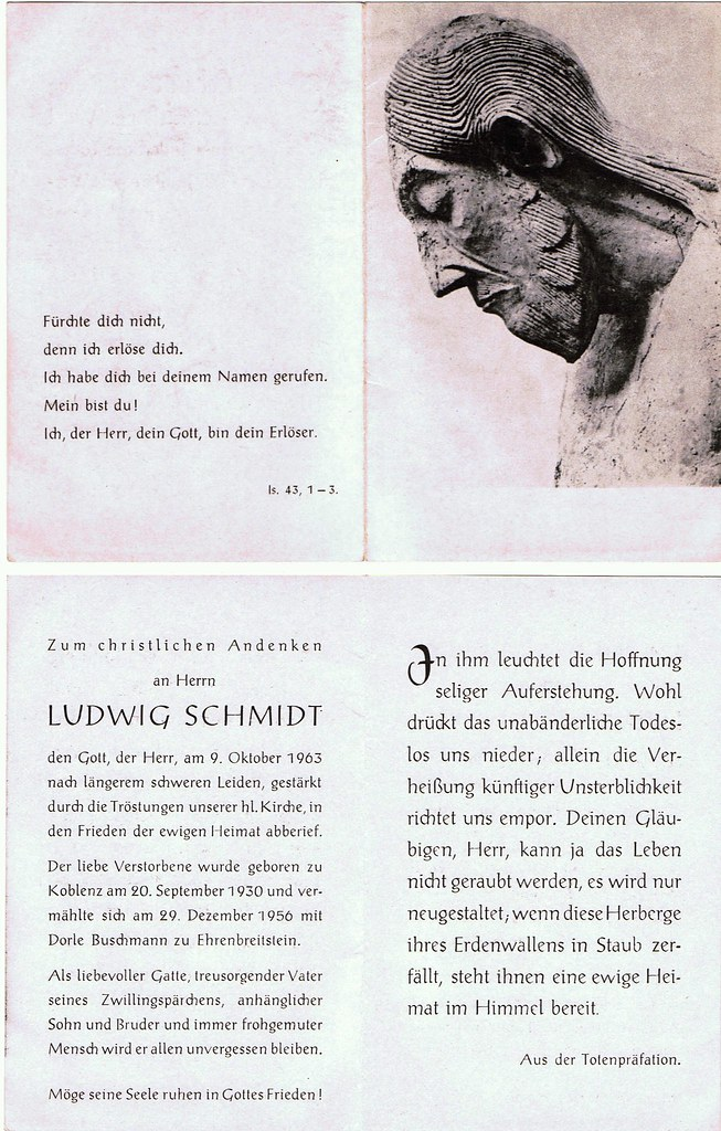 Totenzettel Schmidt, Ludwig † 09.10.1963