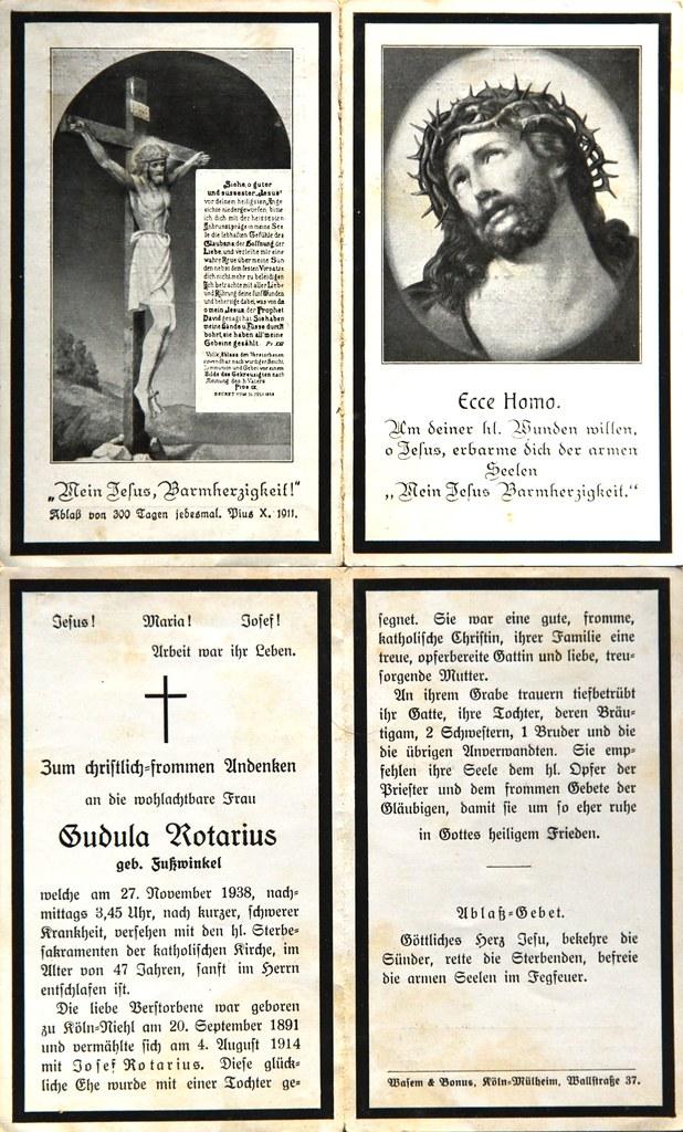 Totenzettel Notarius, Gudula † 27.11.1938