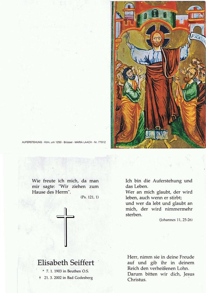 Totenzettel Seiffert, Elisabeth † 21.03.2002