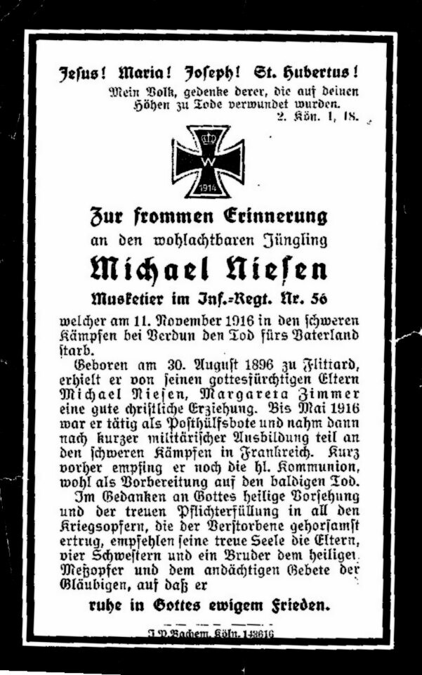 Totenzettel Niesen, Michael jun † 11.11.1916