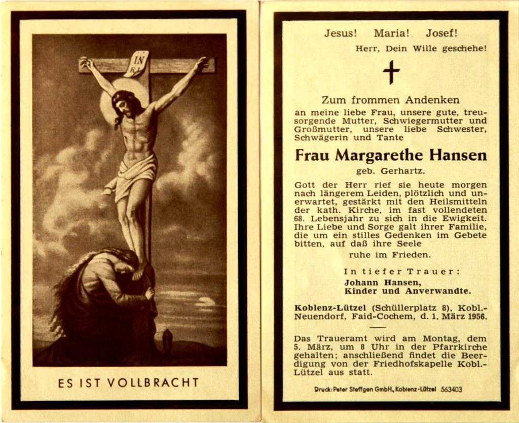 Totenzettel Hansen, Margarethe † 01.03.1956