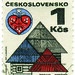 Czechoslovakia postage stamp: roofs and folk art