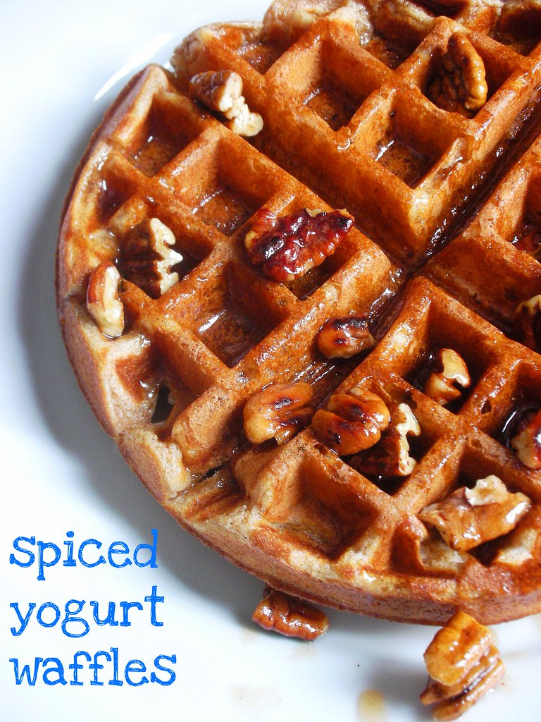 spiced yogurt waffles with toasted pecan maple syrup | Flickr