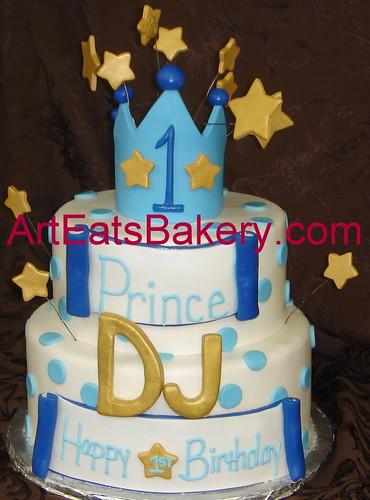 Little Prince Two Tier Blue Polka Dot Fondant Boy S 1st Bi