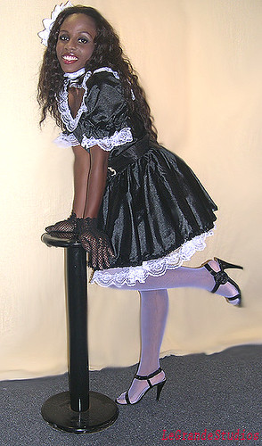 The Black And White French Maid satin, White Lace-9361