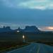 Car lights in Monument Valley Utah