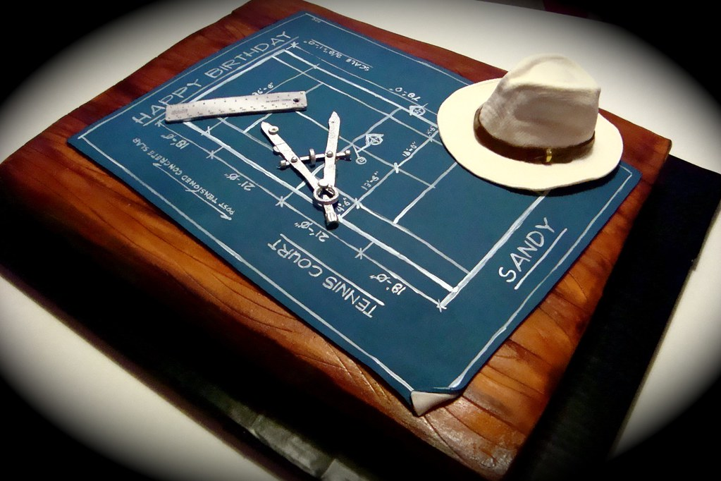 Blueprint Cake Made For An Architect Who Plays Tennis Blu Flickr