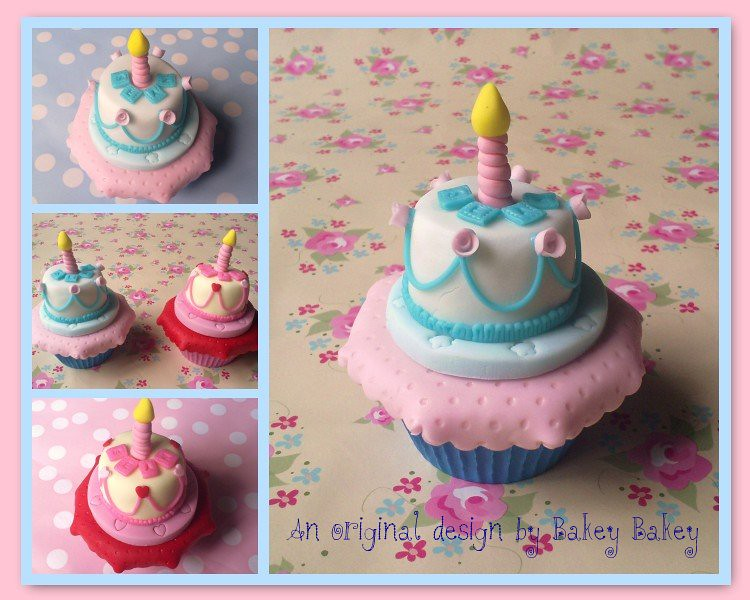 Miniature Birthday Cake On A Cupcake Tea Table