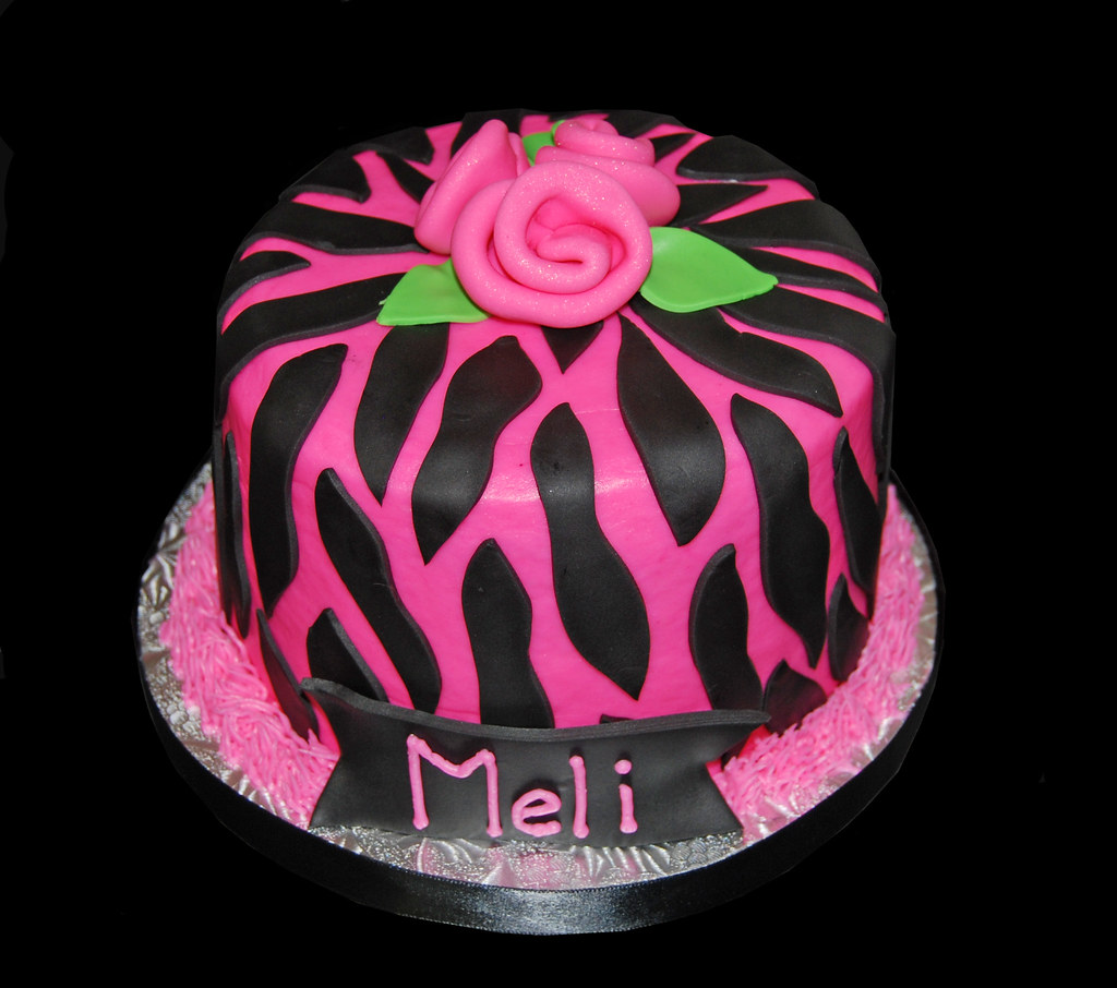 Small Pink and Black Zebra print birthday cake Dana Brown Flickr