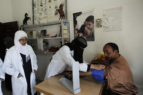 Students take blood pressure reading at the Shaheed Mohamed Motaher Zaid School | by World Bank Photo Collection