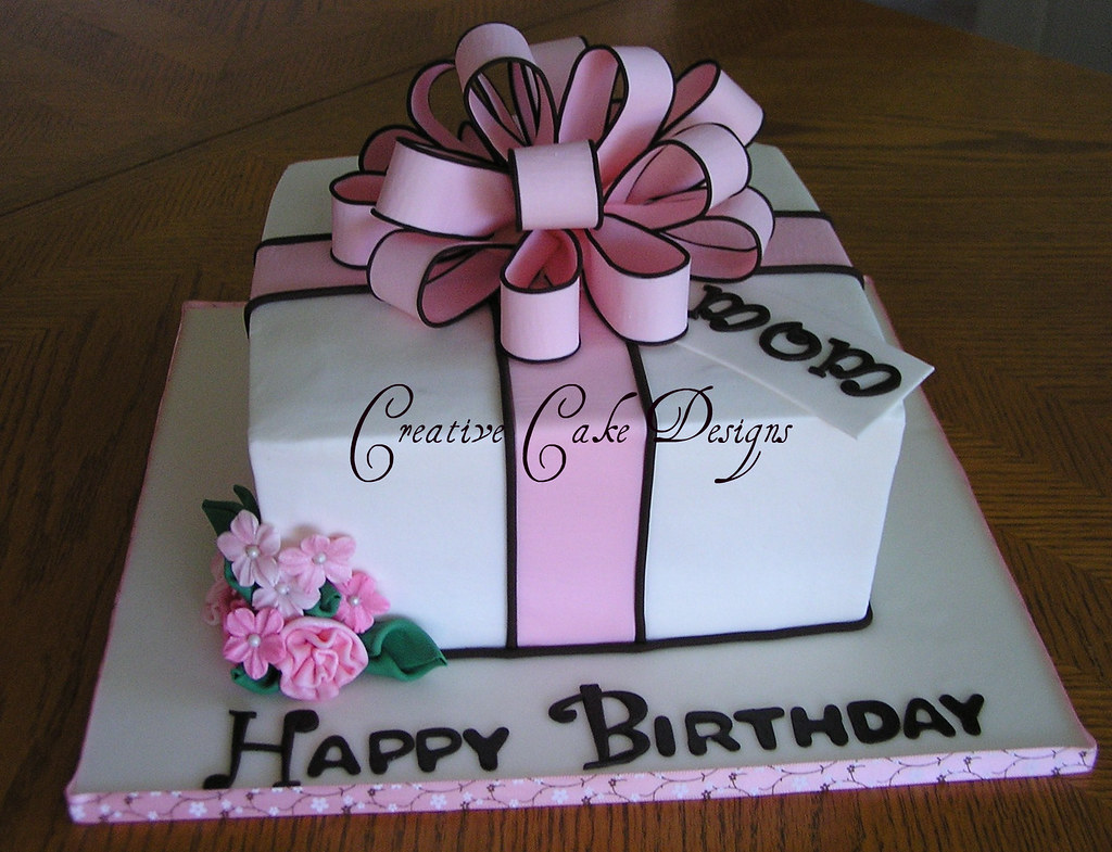 Birthday Cake Designs In Square : Pink Present Cake in Buttercream The second of FIVE cake ...