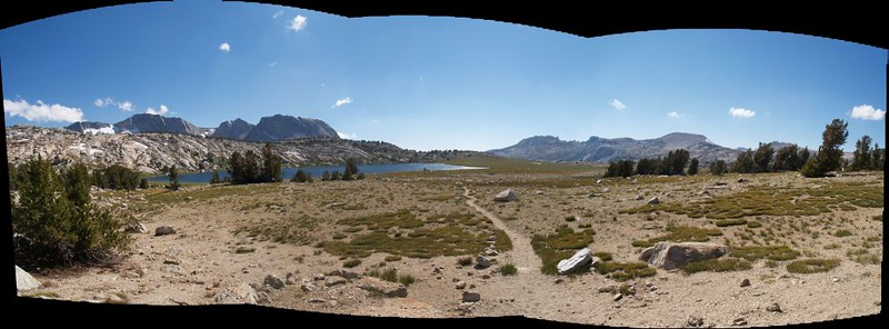 Stitched panorama showing the high bleak landscape around Evelyn Lake