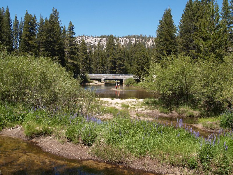 We see the Highway 120 bridge over the Tuolumne River. The car is just beyond.