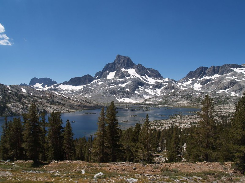 Thousand Island Lake with The Minarets, Banner Peak, and North Glacier Pass