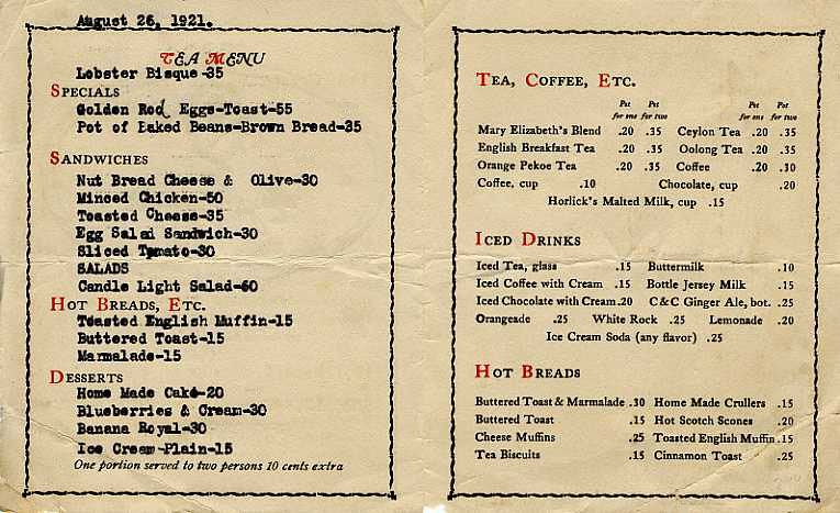 Menu For A 1920 S Tea Room Kara Kelley Flickr