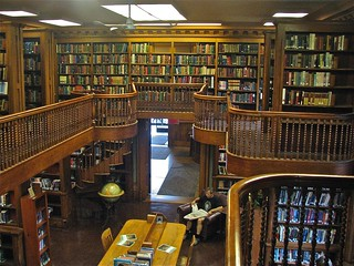 St. Johnsbury Athenæum (1871) – Interior: library stacks detail from upper level | by origamidon