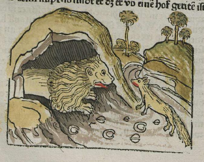 Vulpes et Leo in Spelunca