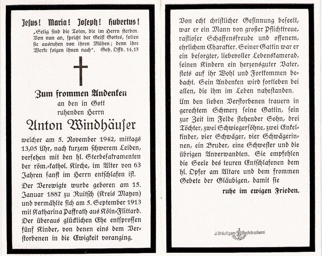 Totenzettel Windhäuser, Anton † 05.11.1942