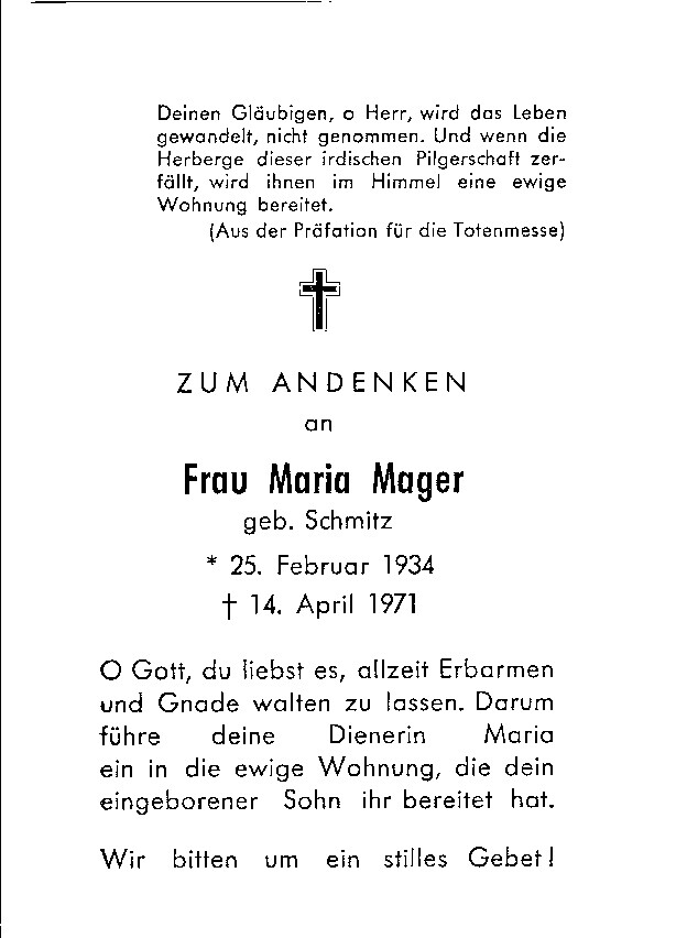 Totenzettel Mager, Maria † 14.04.1971