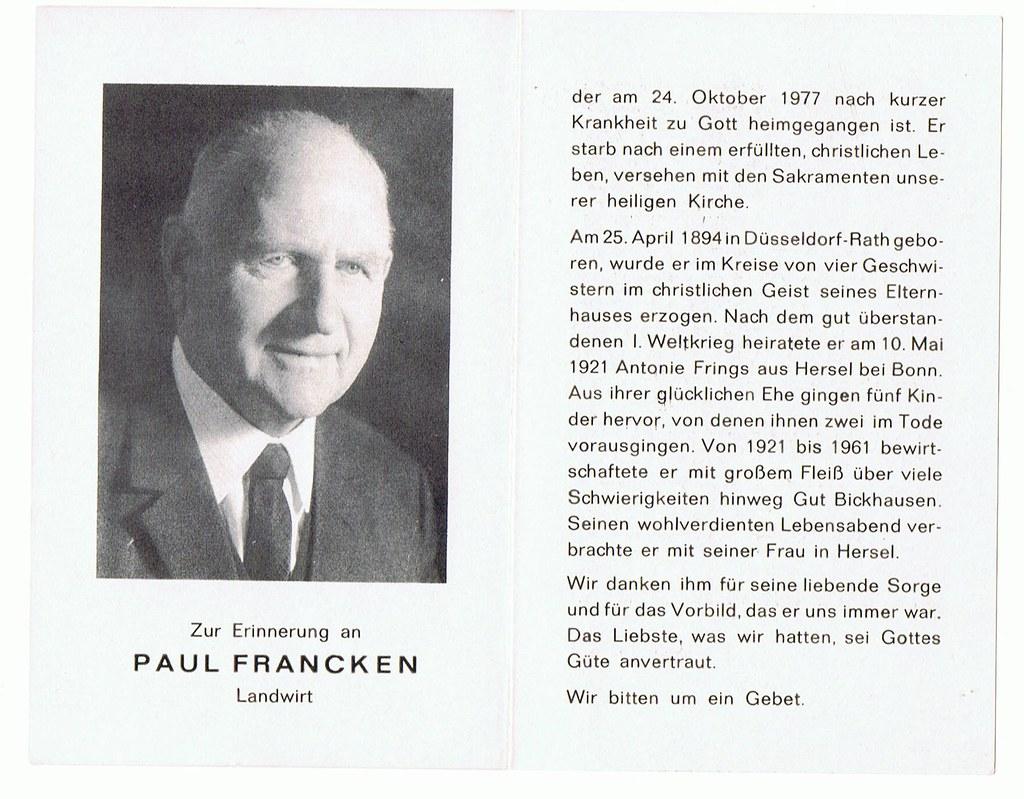 Totenzettel Francken, Paul † 24.10.1977