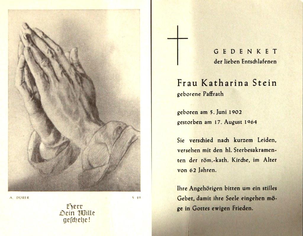 Totenzettel Stein, Katharina † 17.08.1964
