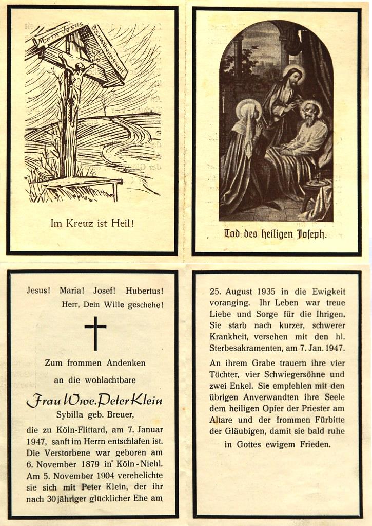 Totenzettel Klein, Sybilla Witwe Peter Klein † 07.01.1947