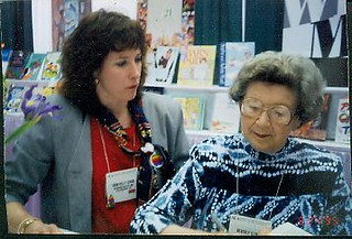 With Beverly Cleary in the ALA Exhibits | by Sara Kelly Johns