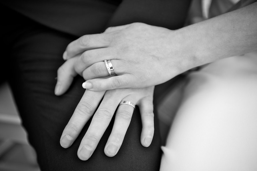 Groom And Bride Hand In Hand With Wedding Rings