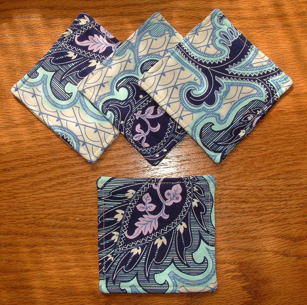Amy Butler Arabesque Ivory Quilted Coasters Set Of 4