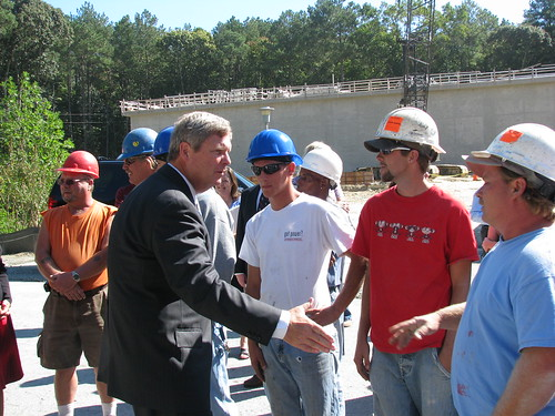 Secretary Vilsack meets with construction workers in Berlin, Maryland.  The town was able to build a new water treatment plant with funds made available through the American Recovery and Reinvestment Act.