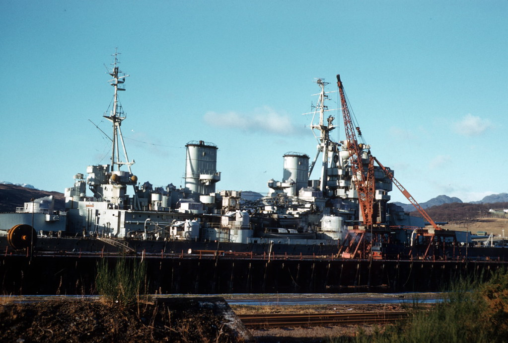 Hms Anson At Shipbreakers Faslane 1958 The Douglas